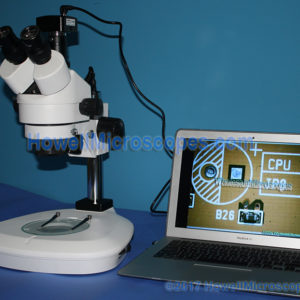 USB computer connected camera included. Computer/Laptop not included. Shape of microscope camera may vary from what is shown.